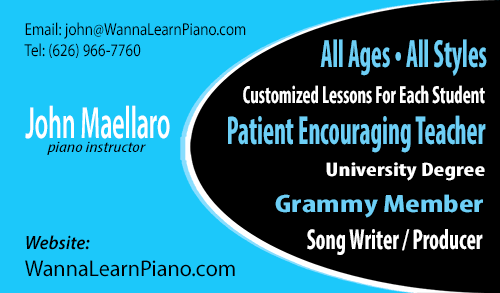 I teach piano. All ages All styles
